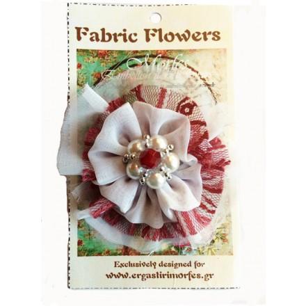 Υφασμάτινο Διακοσμητικό Λουλούδι με Χάντρες (Άσπρο / Κόκκινο)