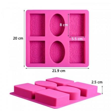 Καλούπι Σιλικόνης 21,9 x 20 x 2,5cm με 4 Παραλληλόγραμμα και 2 Οβάλ θέσεις