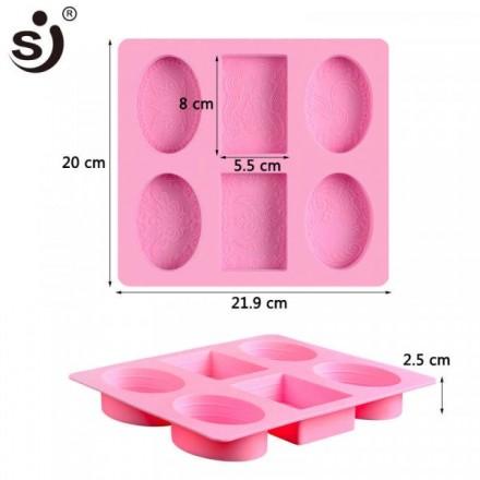 Καλούπι Σιλικόνης 21,9 x 20 x 2,5cm με 2 Παραλληλόγραμμα και 4 Οβάλ θέσεις