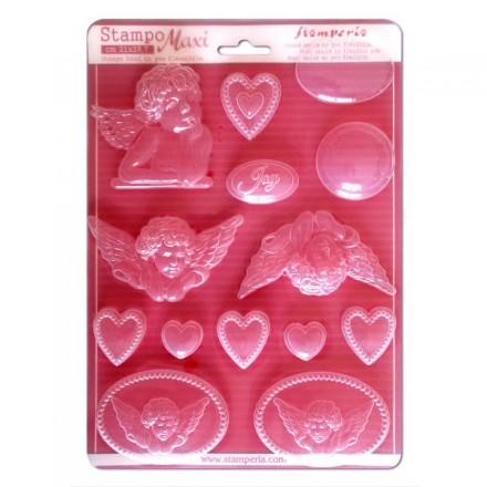 Καλούπι Soft Maxi Mould Stamperia, Angels and hearts