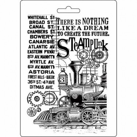 Καλούπι εύκαμπτο A5, 15x21cm, Stamperia, Steampunk Train