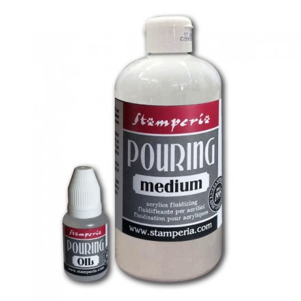 Pouring Kit: 500 ml Medium + 20 ml Λάδι, Stamperia (fluid painting / υγρή ζωγραφική)
