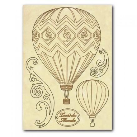 Σετ Ξύλινα Διακοσμητικά Stamperia A5 ,Αερόστατα