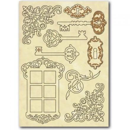 Σετ Ξύλινα Διακοσμητικά Stamperia A5 , Keys and window