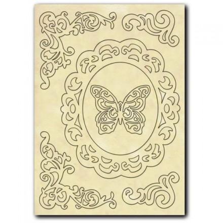 Σετ Ξύλινα Διακοσμητικά Stamperia A5 , corners and butterfly