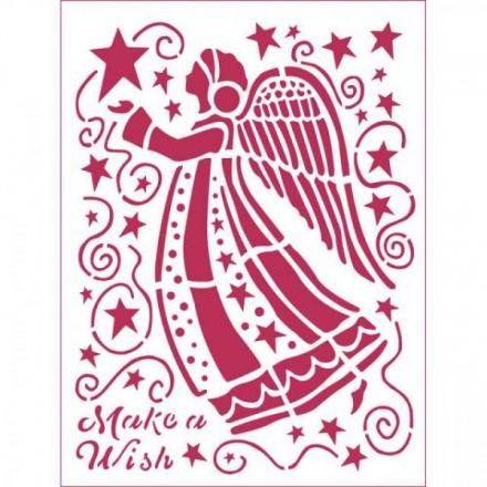 Stencil D Stamperia 20x15cm, Angelo Make A Wish