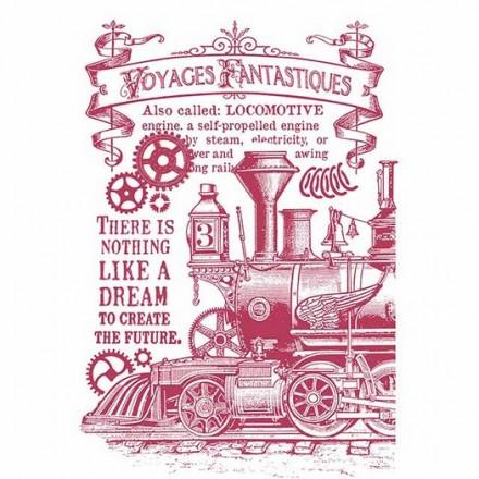 Stencil G Stamperia 21x29.7cm, Voyages Fantastiques Stream Train
