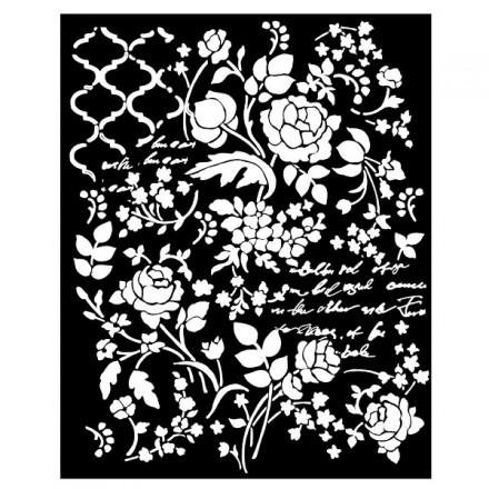 Mix Media Χονδρό Στένσιλ (Stencil) Stamperia 20x25cm, Fantasia Floreale / KSTD031