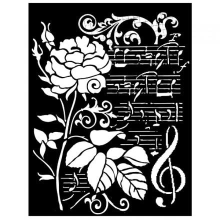Mix Media Χονδρό Στένσιλ (Stencil) Stamperia 20x25cm, Rosa E Musica / KSTD032