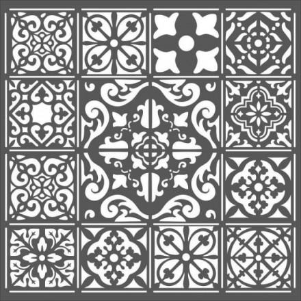 Mix Media Χονδρό Στένσιλ (Stencil) Stamperia 18x18cm, Azulejos Piastrella1 / KSTDQ25