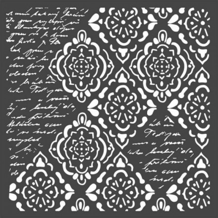 Mix Media Χονδρό Στένσιλ (Stencil) Stamperia 18x18cm, Wallpaper Rhombus and Writings / KSTDQ36