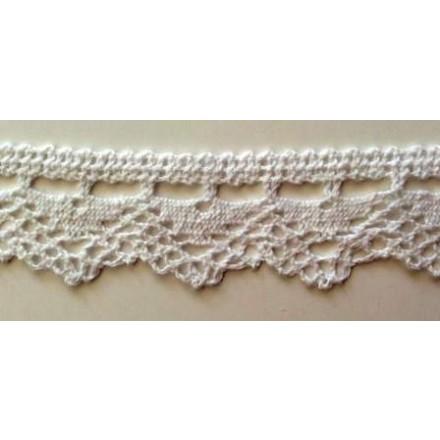 Δαντέλα Βαμβακερή Λευκή (3.2cm x 1m)