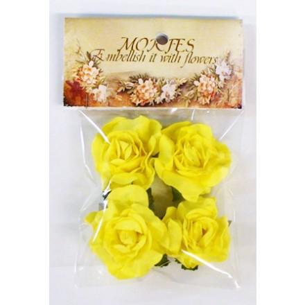 Σετ Χάρτινα Διακοσμητικά Λουλούδια (Κίτρινα Τριαντάφυλλα, 4τεμ)