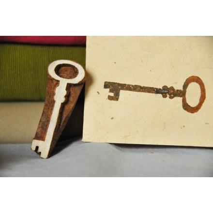 Σκαλισμένη στο χέρι ξύλινη Σφραγίδα - Old Key