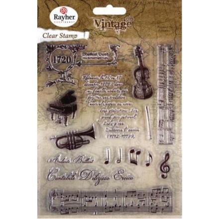 Σετ Σφραγίδες Σιλικόνης, 1-12,5cm, Vintage Music
