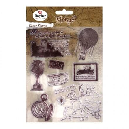 Σετ Σφραγίδες Σιλικόνης, 2-8cm, Vintage Time Travel