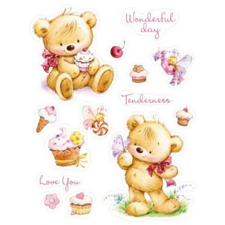Σφραγίδα Σιλικόνης (14 x 18cm) - My little Bear with Cupcakes