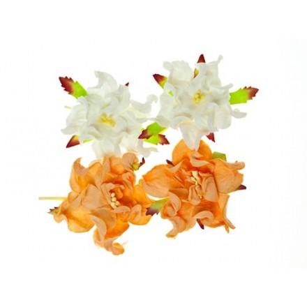 Σετ Διακοσμητικά Λουλούδια (Gardenia peach/white, ø5cm, 4τεμ)