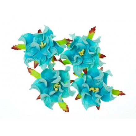 Σετ Διακοσμητικά Λουλούδια (Gardenia sky blue, ø5cm, 4τεμ)