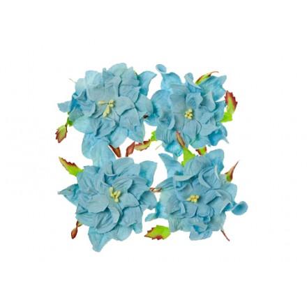 Σετ Διακοσμητικά Λουλούδια (Gardenia soft blue, ø7cm, 4τεμ)