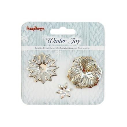 Σετ Μεταλλικά Λουλούδια (Winter Joy, 3τεμ)