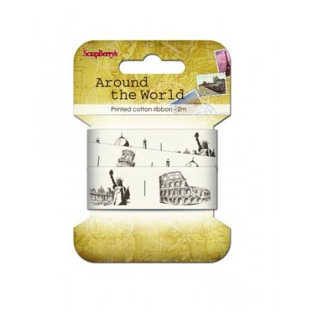 Τυπωμένη Βαμβακερή Κορδέλα (Around the world - 25mm, 2m)