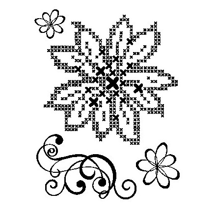 Σφραγίδα Σιλικόνης (14 x 18cm) - Cross Stich Flower + Embellishment
