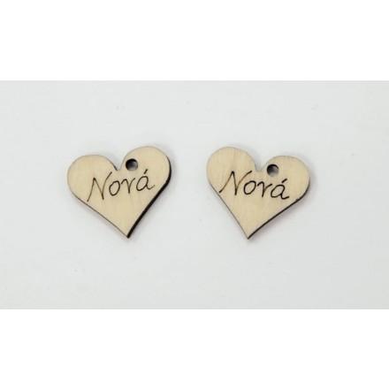 Σετ Ξύλινη Καρδιά με τρύπα 2cm x 2.2cm (5τμχ), Νονά