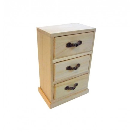 Ξύλινη συρταριέρα με 3 συρτάρια 12×7.8×17.8cm