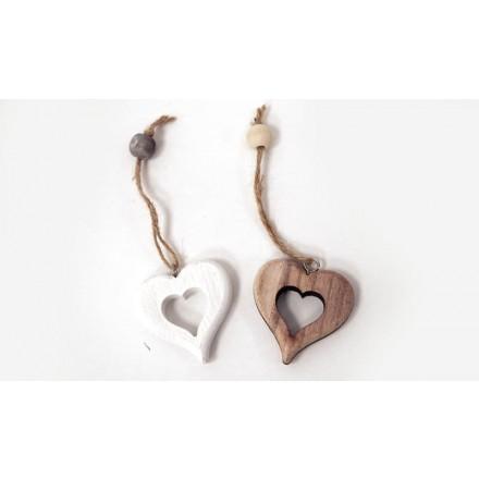 Ξύλινη Καρδιά διάτρητη Χοντρή 6cm (με κορδόνι & χάντρα)