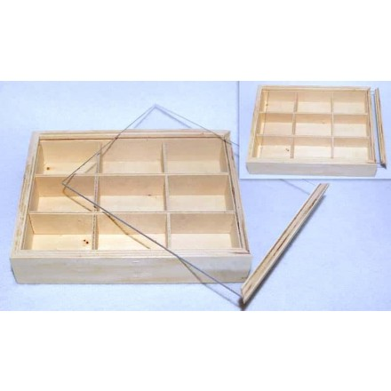 Ξύλινο Κουτί με Χωρίσματα & Plexiglass καπάκι 17x13cm