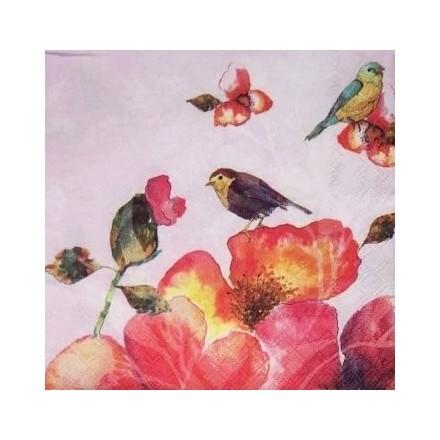 Χαρτοπετσέτα για Decoupage, Tropical Birds (lilac) / 13307687