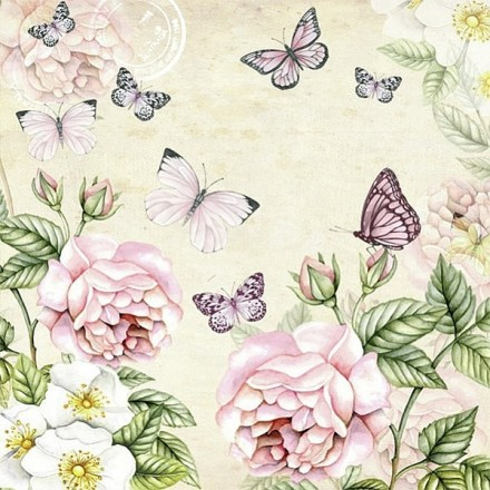Χαρτοπετσέτα για Decoupage, Botanical (cream) / 13309196