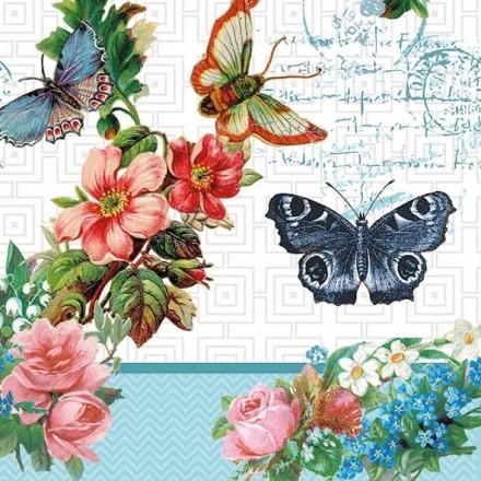 Χαρτοπετσέτα για Decoupage, Flowers and Butterflies / 13309780