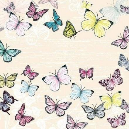 Χαρτοπετσέτα για Decoupage, Butterfly cream / 13310001