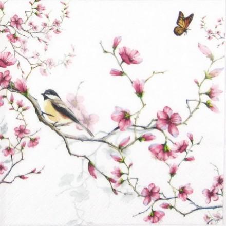 Χαρτοπετσέτα για Decoupage, Bird & Blossom White / 13311215