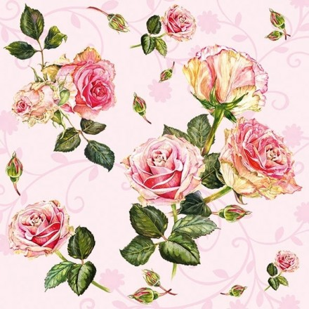 Χαρτοπετσέτα για Decoupage, Pink Roses / 13313001