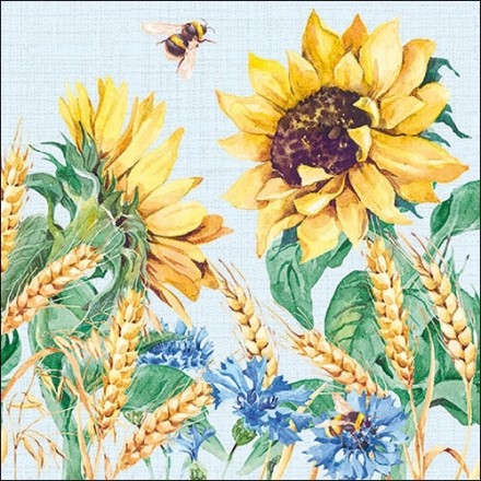 Χαρτοπετσέτα για Decoupage,  Sunflower And Wheat Blue / 13313276