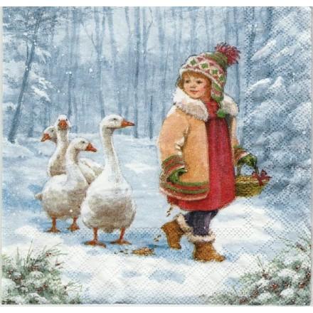 Χριστουγιεννιάτικη Χαρτοπετσέτα για Decoupage, Emmy Feeding Geese / 33304840