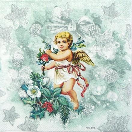 Χριστουγιεννιάτικη Χαρτοπετσέτα για Decoupage, Angel Fashion Green / 33304895