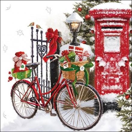 Χριστουγιεννιάτικη Χαρτοπετσέτα για Decoupage, Bike In Snow / 33310520
