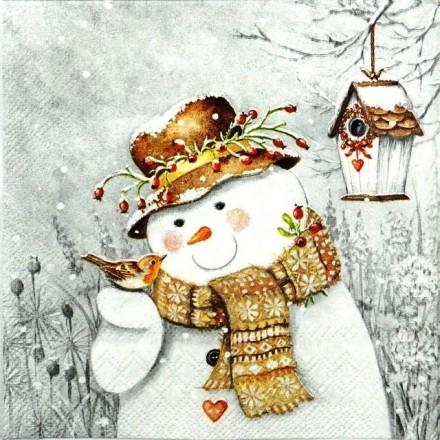 Χριστουγιεννιάτικη Χαρτοπετσέτα για Decoupage, Snowman Holding Robin / 33311940