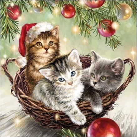 Χριστουγιεννιάτικη Χαρτοπετσέτα για Decoupage, Cats in basket / 33311975