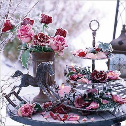 Χριστουγιεννιάτικη Χαρτοπετσέτα για Decoupage, Frozen Roses / 33312205