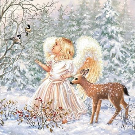 Χριστουγιεννιάτικη Χαρτοπετσέτα για Decoupage, Winter Angel / 33313470