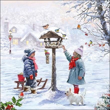 Χριστουγιεννιάτικη Χαρτοπετσέτα για Decoupage, Feeding Birds / 33313565