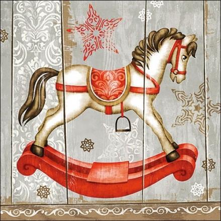 Χριστουγιεννιάτικη Χαρτοπετσέτα για Decoupage, Rocking Horse / 33314735