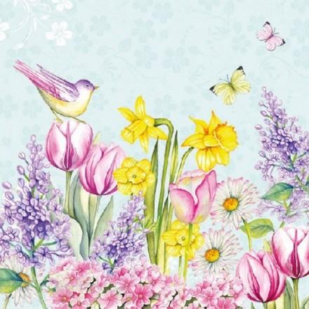 Χαρτοπετσέτα για Decoupage, Blooming Garden Turquoise / 13312685