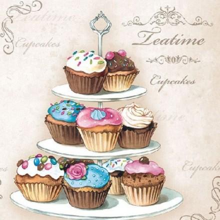 Χαρτοπετσέτα για Decoupage, Cupcakes on Etagere / 13312920