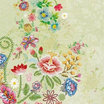 Χαρτοπετσέτα για Decoupage, Embroidery Flowers (green) / 13313026